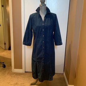 Talbots Blue Jean Button Front 3/4 Sleeve Dress